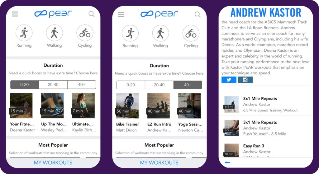 PEAR-Personal Fitness Couch aplicatii iphone